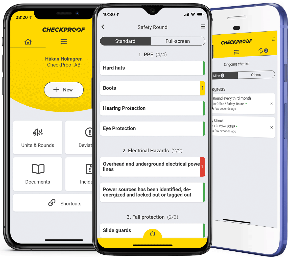 Mobile first checklists and case reporting