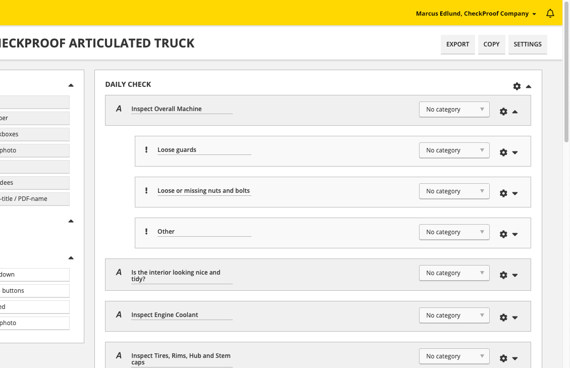 Dashboard with drag and drop to create your checklists