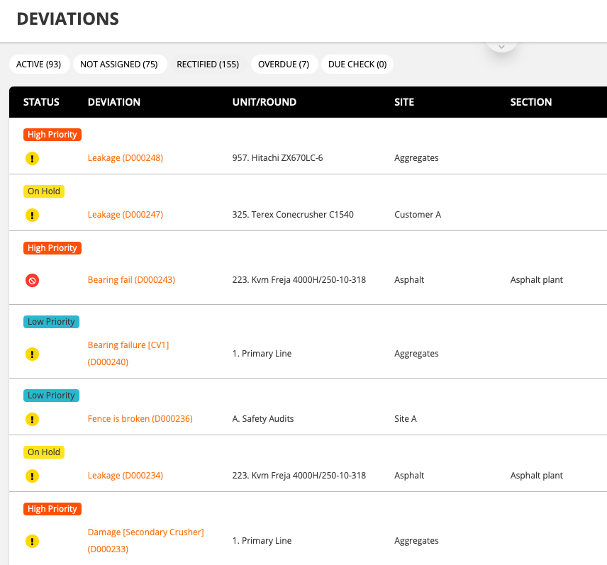 CheckProof admin panel with features to search, categorize and filter deviations