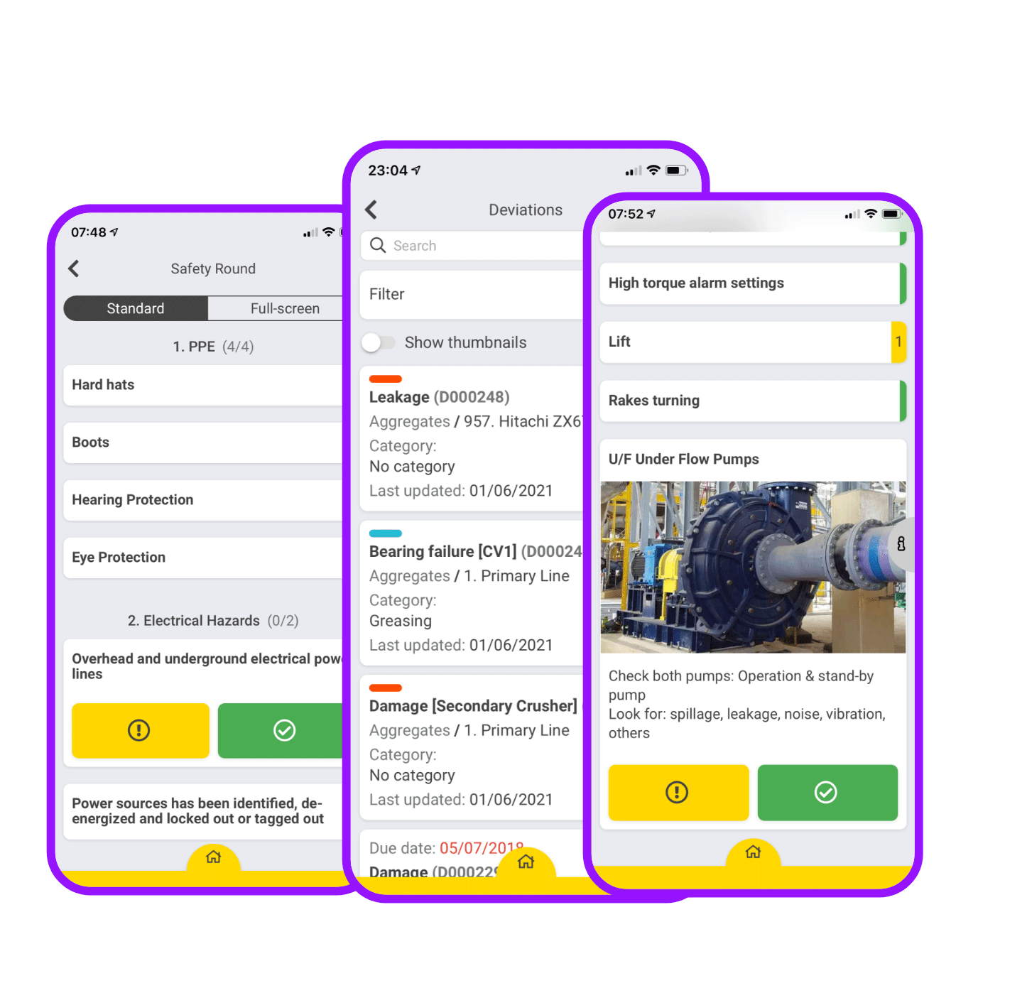 App screenshots showing frontline dokumentation and performance