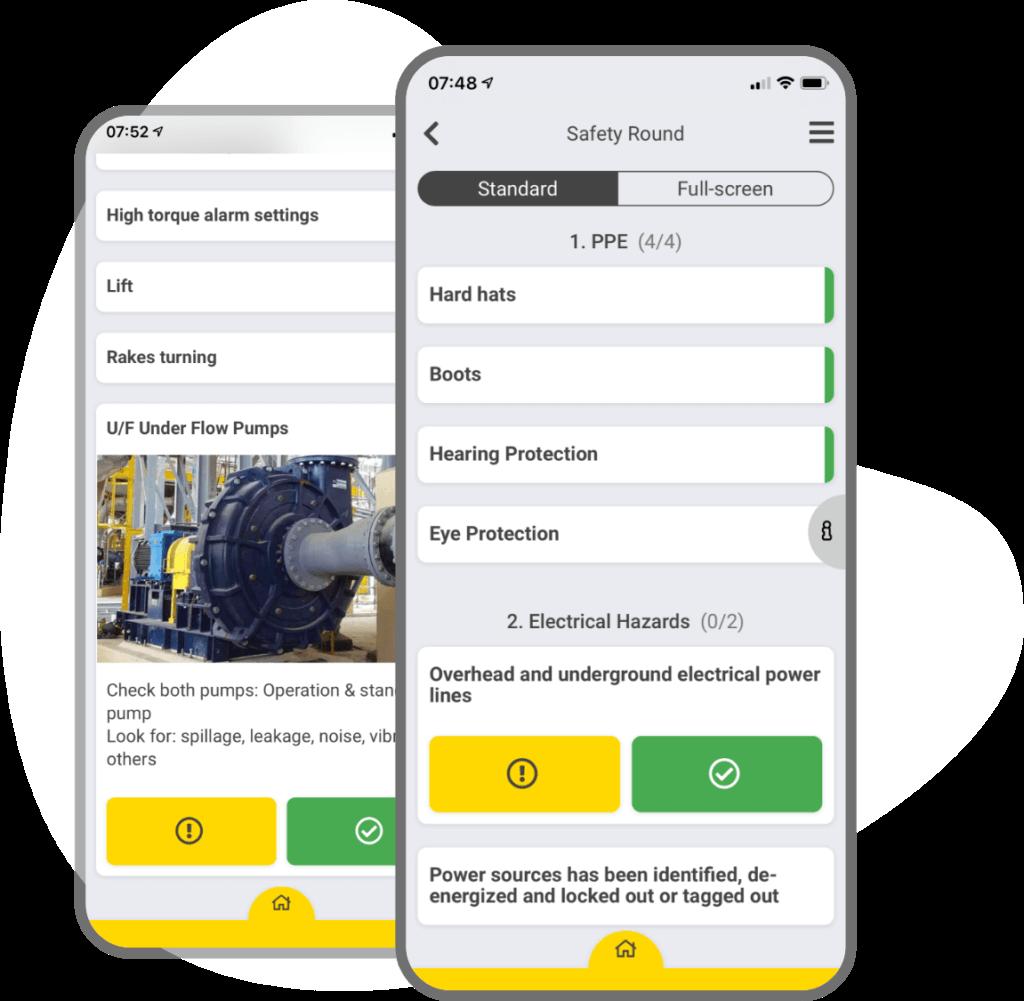 App screenshot of safety round checklist