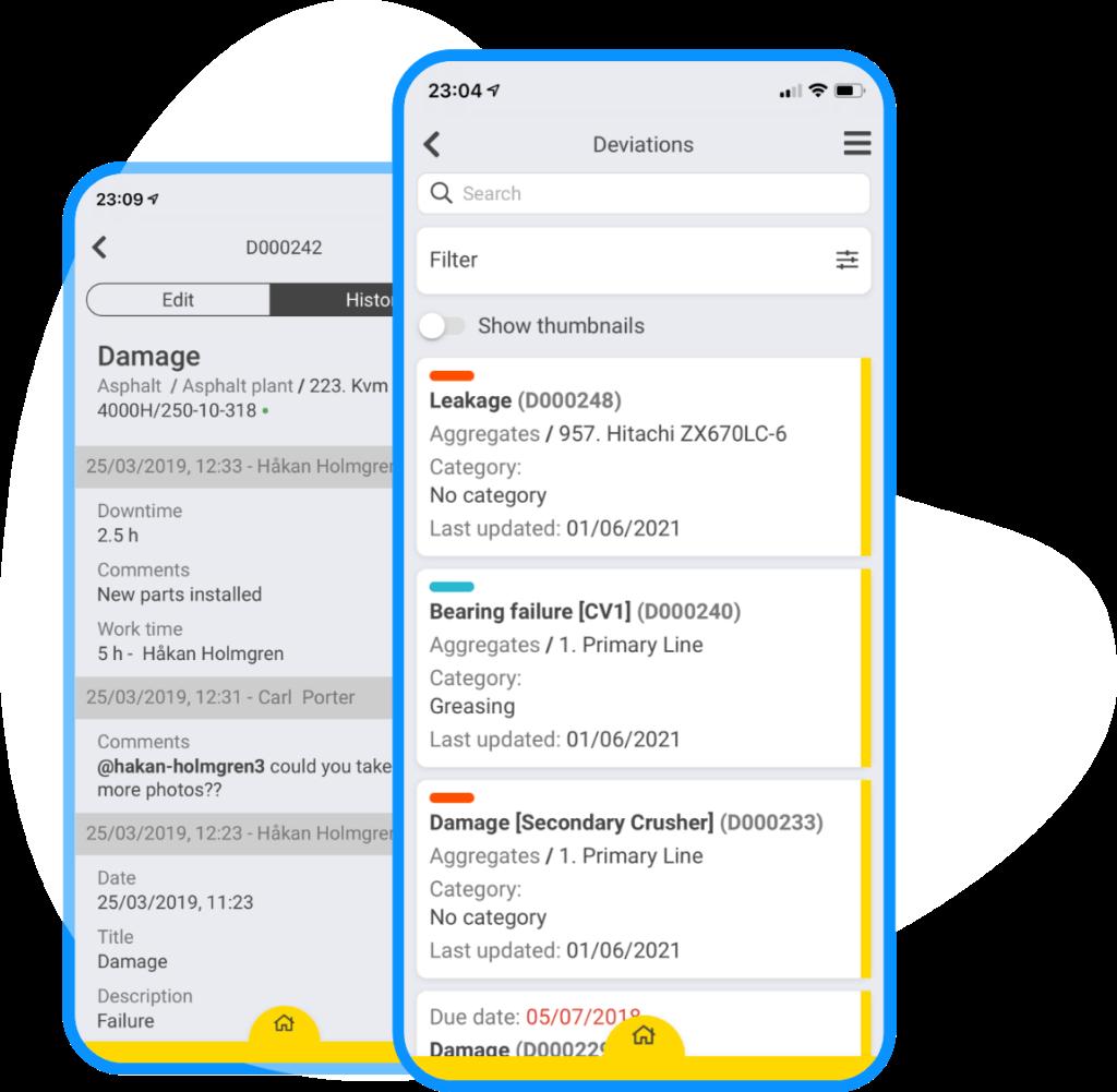 App screenshot of deviation list and details